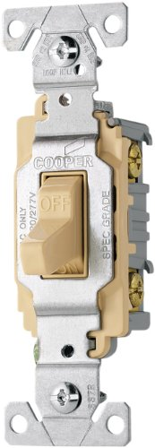 Eaton CS120V 20-Amp 120/277-volt Commercial Grade Single Pole Compact Toggle Switch with Side Wiring, Ivory