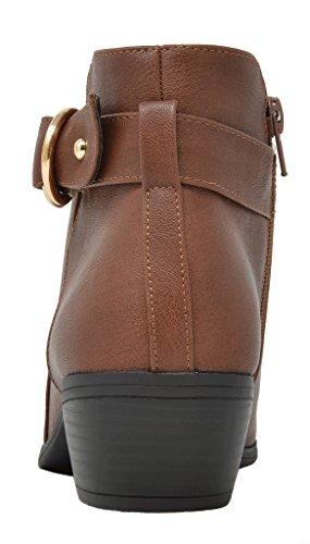 TOETOS Damen Cowboy Blockabsatz Seitlicher Reißverschluss Ankle Booties 03-brauner Pu