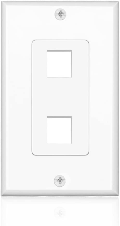 TNP Keystone Wall Plate - 2 Port Keystone Insert Jack Single Gang Wiring Plug Socket Decorative Face Cover Outlet Mount Panel with Screws White
