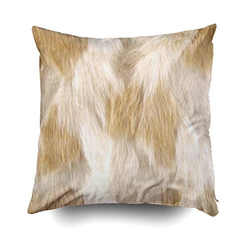 EMMTEEY Home Decor Throw Pillowcase for Sofa Cushion Cover, Halloween 112 Leather Faux Fur Fox Beige White Decorative Square Accent Zippered and Double Sided Printing Pillow Case Covers 18X18Inch