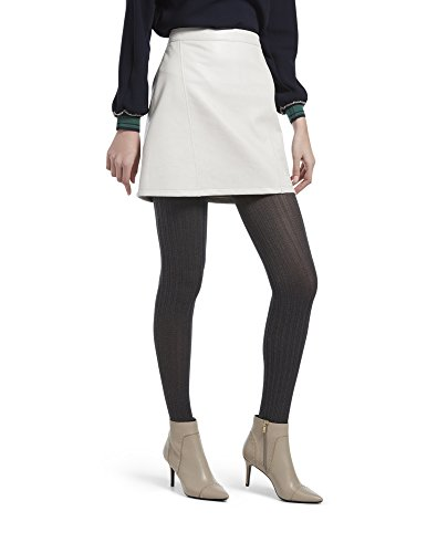 HUE Women's Micro Cable Tights with Control Top, graphite heather, S/M