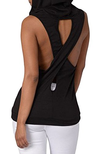Women Hooded Cross Back Sleeveless Hoodie Tank Top Black XL