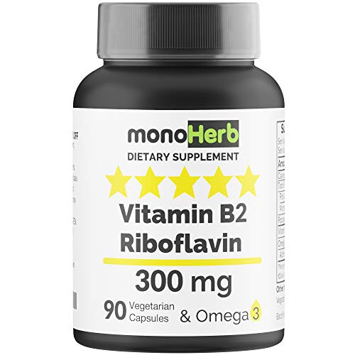 Vitamin B2 300 mg Riboflavin – Against Migraine – 90 Capsules with Omega 3