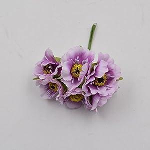 12Pcs Artificial Flower Silk Cherry Bouquet For Wedding Home Decoration DIY Scrapbooking Wreath Craft Flowers Light purple 42