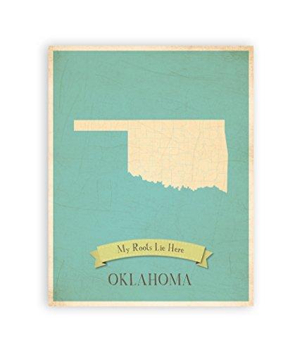 My Roots Oklahoma Personalized Wall Map 11x14, Kid's Oklahoma Map Wall Art, Children's Oklahoma Vintage State Map, OK Wall Art Print, Nursery Decor, Nursery Wall Art ()