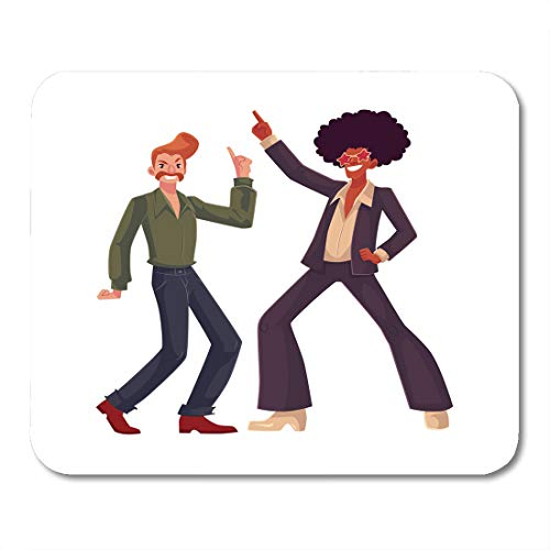 Boszina Mouse Pads Two Guys in Afro Wig Beehive Wearing 1970S Style Dancing Disco Cartoon White Flared Pants Retro Party Mouse Pad for notebooks,Desktop Computers mats 9.5