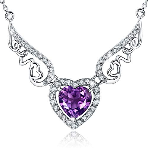 EURYNOME 925 Sterling Silver Endless Love Angel Wing Double Heart Purple Birthstone Pendant Necklace Jewelry for Women Girls