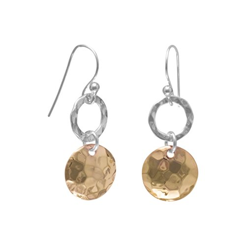 Two-Tone Hammered Gold -plated and Sterling Silver Dangle Earrings ()