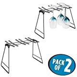 mDesign Freestanding Foldable Wine Glass and Stemware Drying and Display Storage Rack for Kitchen Countertop - Holds 6 Glasses, Non-Skid Feet, Folds Flat for Compact Storage - Pack of 2, Matte Black