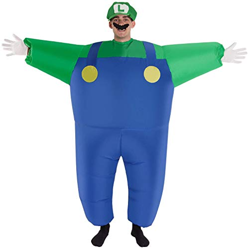 Megamorph Giant Luigi Costume Green Super Mario Brothers Blow Up Fancy Dress]()