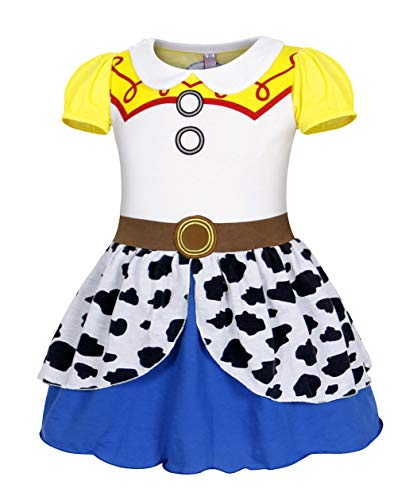 MetCuento Jessie Costume for Girls Toddler Cowgirl Dress Up Halloween Cosplay Fancy Party T-Shirt Birthday Outfit Size 8(7-8Yesrs)