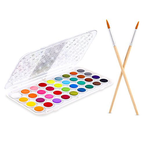 Fundamentals Watercolor Set, 36-color Ohuhu Watercolor Pan Set Water Color Artist set, Bonus 2 Paintbrushes for Watercolor Paints, Acrylic Painting