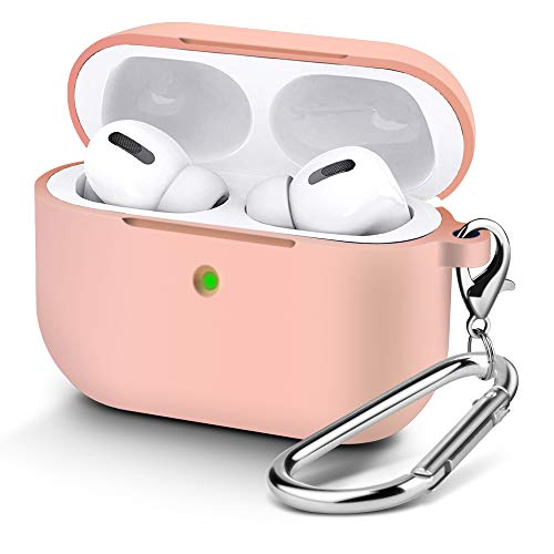 Protective Case Cover for AirPods Pro 2019, Soft Skin Silicone Case with Keychain, [Front LED Visible] [Shock & Dust Resistant] for Boys & Girls, Light Pink