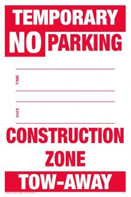 Amazoncom Temporary No Parking Sign With Date And Time And