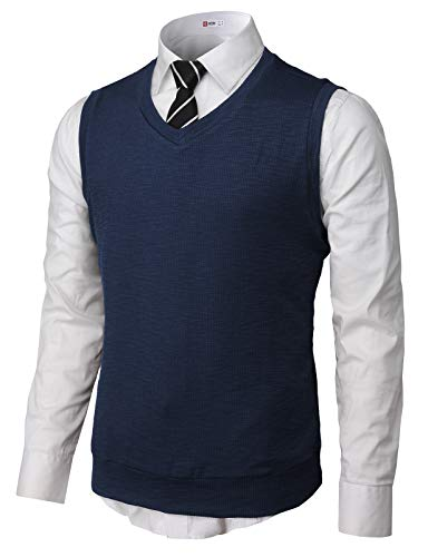 H2H Mens Cotton Blended Knit Vest Navy US S/Asia M -