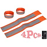 Clearance Sale!!! Gonicc Passive-Security Technique Reflective Ankle Bands (4 Bands),High Visibility and Safety for Cycling Walking Running Hiking,Wristbands,Armband,Leg Straps,Suitable for Pet,100% Lifetime Guarantee.