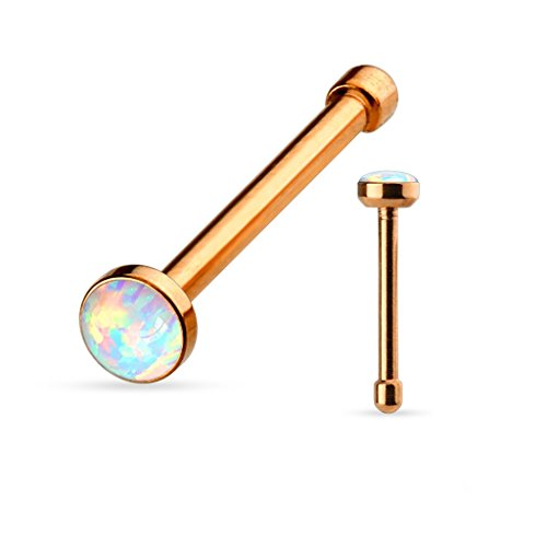 Amelia Fashion 20 Gauge Rose Gold White Opal Nose Ring Stud 316L Surgical Steel (Rose Gold & (Gold Opal Nose Ring)