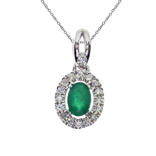 Jewels By Lux 14k White Gold Genuine Birthstone Oval Emerald and Diamond Halo Pendant (3/5 Cttw.) ()