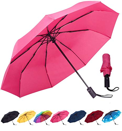 Rain-Mate Compact Travel Umbrella - Windproof, Reinforced Canopy, Ergonomic Handle, Auto Open/Close (Pink)