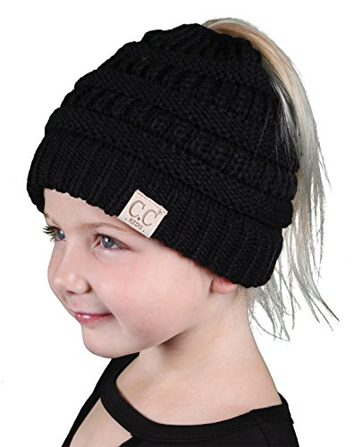 eca690a058d07 BT2-3847-06 Kids Messy Bun Ponytail Winter Knit Hat Girls Beanie Tail -  Black