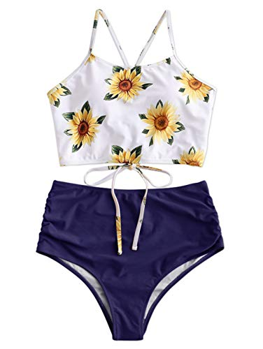 ZAFUL Crisscross Sunflower Tankini Swimsuits High Waisted Bikini for Women Lapis Blue XL Size