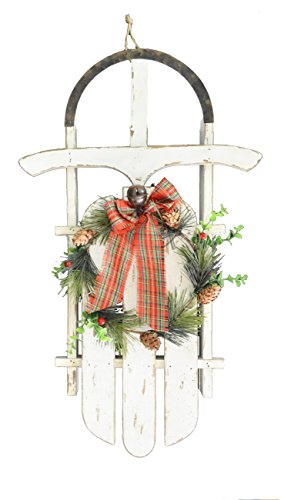 GIFTME 5 Christmas Sleigh Wall Decoration Wood and Metal with Floral Hoop Sleigh Wall Hanging Décor 22inch (Christmas The Sleigh)