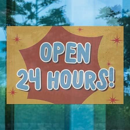 Nostalgia Burst Window Cling Open 24 Hours 27x18 5-Pack CGSignLab