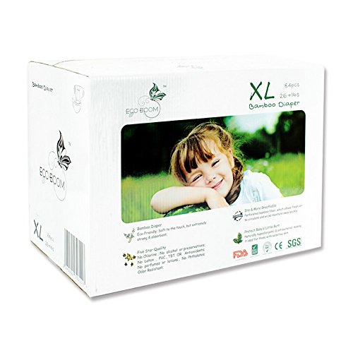 ECO BOOM Baby Biodegradable Bamboo Disposable Diapers Baby Nappies Size XL 84 Count-Pack