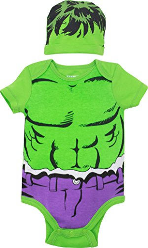 Marvel Avengers The Hulk Baby Boys Costume Bodysuit & Hat Green (3-6 Months) -