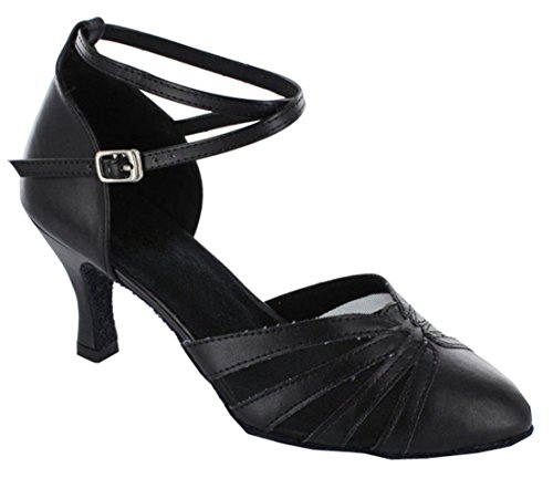 Colorful Toe Shoes Black Ballroom Heel Dance Colsed Wedding Modern Salsa Latin Womens TDA Tango Flared xHBTwpECq