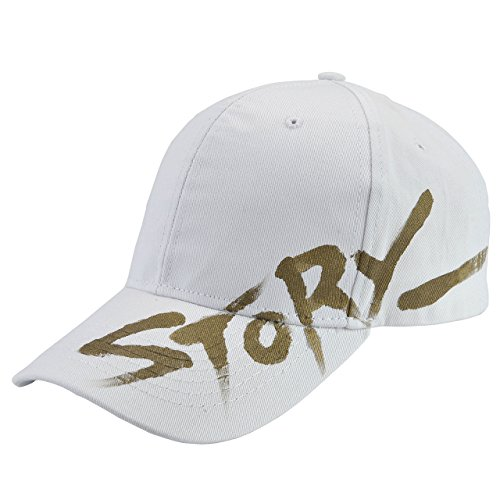 Faleto Adjustable Baseball Cap Snapback Curved Brim Sun Cotton Peaked Hat (White)