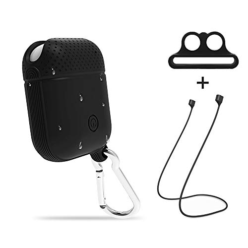 Hsility Case for Airpods Waterproof Protective Soft Skin Shock Resistant Premium Silicone Cover with Anti-Lost Carabiner Anti-Lost Holder Magatic Anti Lost Strip for Airpod (Black)