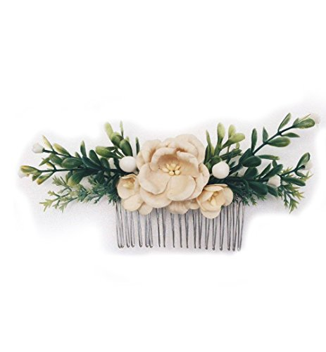 Price comparison product image Siam2u Floral hair Bridal comb, headpiece, bridesmaids hair flower, Hair Accessories