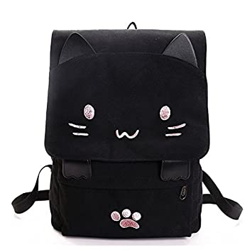 SODIAL Bolsa de estudiante de lona de bordado de gato lindo de moda Mochila de mujer