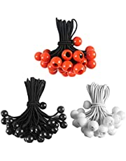 90Pack Ball Bungee Cords, HLOGREE 3 Sizes Bungee Cords Heavy Duty Tarp Tie Down Bungee Balls Elastic Rope for Tents Camping Holding Hoses Wire Ballnet Canopies Tarps Shades