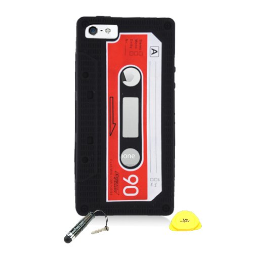 Wydan For iPhone 5 5S - Retro Tape Cassette Black Soft Skin Silicone Case-Black w/Stylus Pen, Prying Tool For Apple (Soft Cassette)