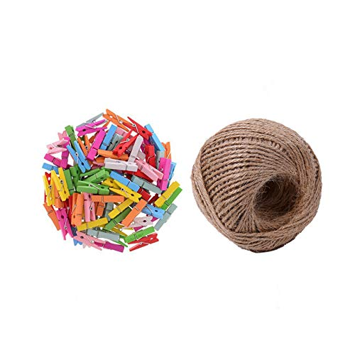 iMagitek 100 Pieces Mini Colored Natural Wooden Clothespins with Spring Photo Paper Peg Pin Craft Clips with 100 Feet Jute Twine ()