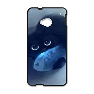 Cute black cat eat the fish lovely personalized high quality cell phone case for HTC M7 by ruishernameMaris's Diary