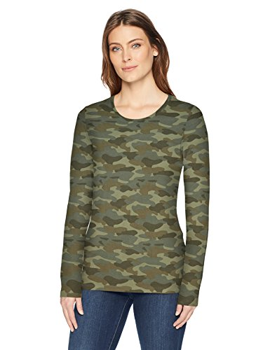 - Amazon Essentials Women's Classic-Fit Long-Sleeve Crewneck T-Shirt, Green Camo, XX-Large