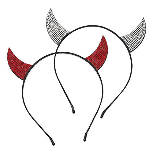 vogueknock Devil Horns Halloween Headband Faux Rhinestone, used for sale  Delivered anywhere in USA