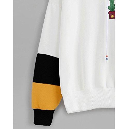 Eg Mijn Dames Cactus Print Hoodie Sweater Hooded Pullover Tops Blouse Zwart