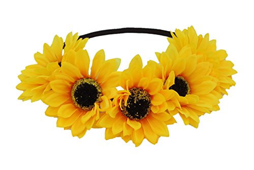 Hippie 2 Piece Headband (Floral Fall Sunflower Crown Hair wreath Bridal Headpiece Festivals Hair Band (2#-Elastic Yellow)
