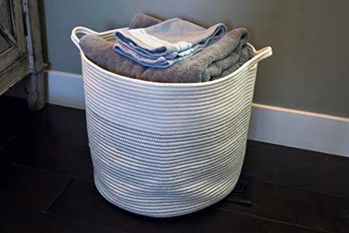 Cotton Pottery Extra Large Woven Blanket Basket 15 X 17 Decorative
