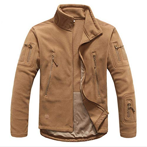 FieldShuFu Men Tactical Clothing Autumn Winter Fleece Army Jacket Softshell Hunt Clothing Military Style Jackets Wolf Brown L