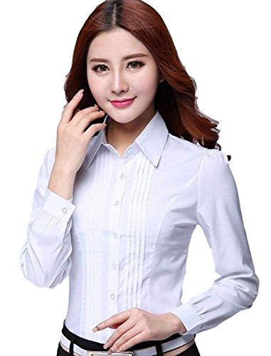へこみコロニー乱気流LIANHONGトップス シャツ ブラウス 白 長袖 大きいサイズ 5XLまで 秋 冬 通勤 Yシャツ ホワイト (サイズ(5XL))