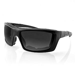 Bobster Trident Polarized Sunglasses, Black Frame/Smoke, Clear, Amber Lenses