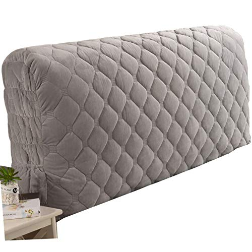 PPGE Home Fabric Bed Headboard Slipcover Protector Stretch All-Inclusive Dustproof Cover Thicken Anti-Collision Backrest Cushion Washable for Bedroom Decor,Gray-20065cm