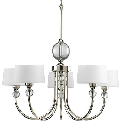 Progress Lighting P4674-104 Fortune Collection 5-Light Chandelier, Polished Nickel