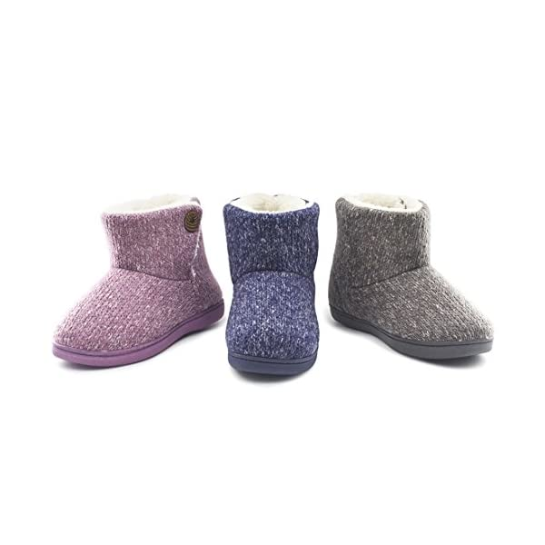 Womens-Comfort-Woolen-Yarn-Woven-Bootie-Slippers-Memory-Foam-Plush-Lining-Slip-on-House-Shoes
