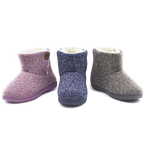 Women's Comfort Woolen Yarn Woven Bootie Slippers Memory Foam Plush Lining Slip-on House Shoes w/ Anti-Slip Sole Indoor, Outdoor